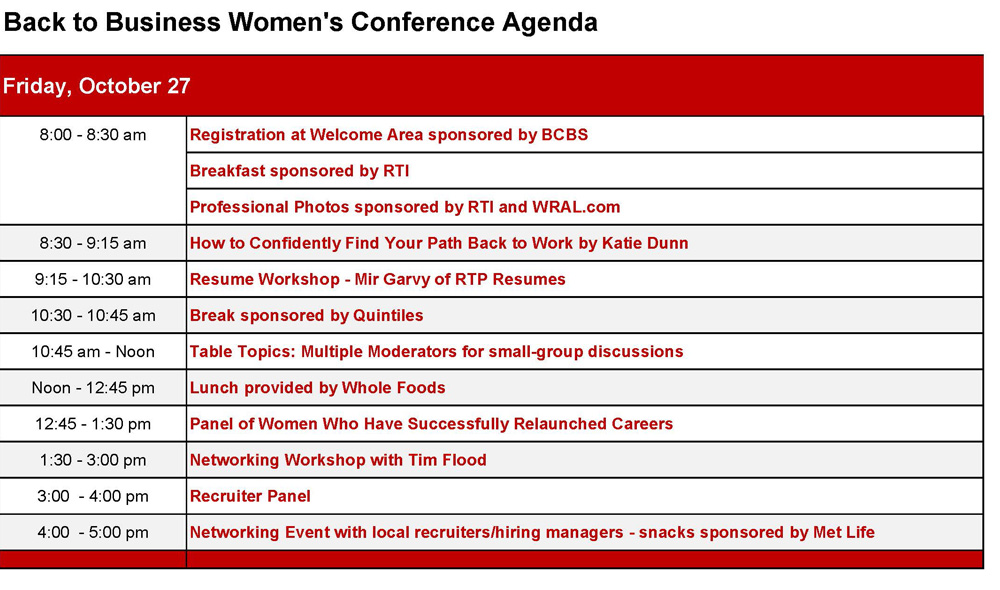Conference Agenda  Back To Business