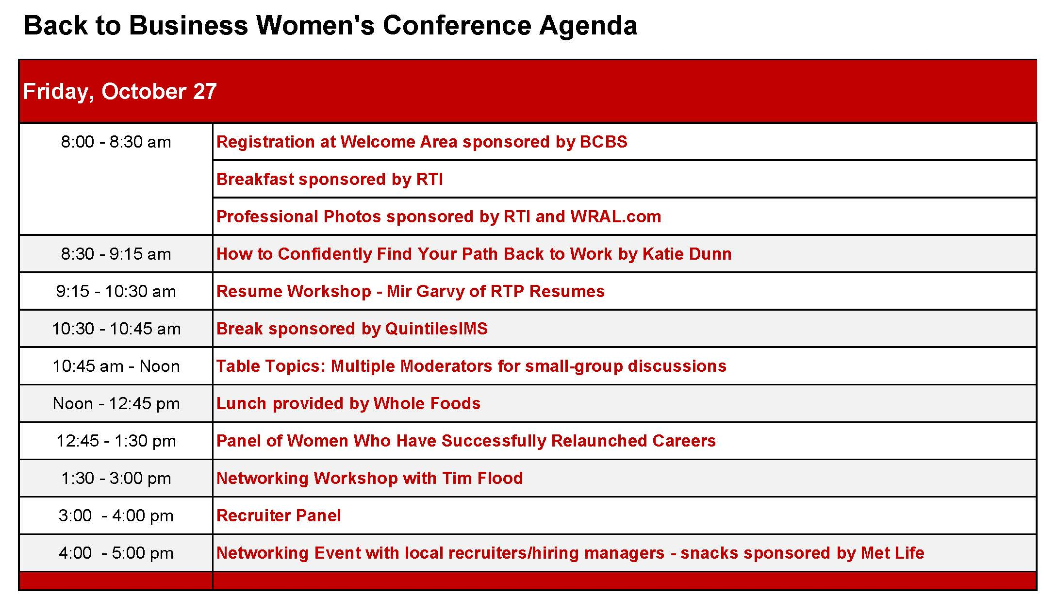 Conference Agenda - Back to Business